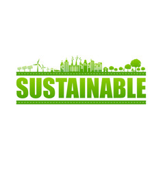 Sustainable logo text with green cities vector
