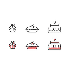 sweets outline icons vector image