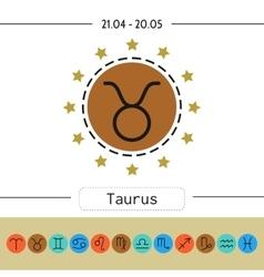 Taurus Set of simple zodiac icons for horoscopes vector
