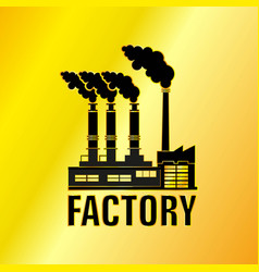 the factory building golden icon vector image