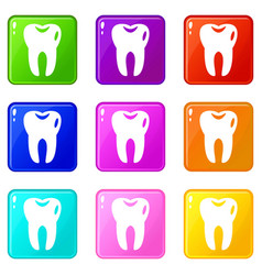 tooth set 9 vector image