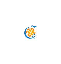 Travel plane globe logo vector
