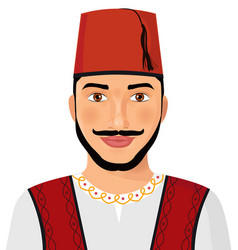 Turkish man avatar sultan in national suit vector