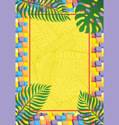 vertical banner with tropical leaves vector image