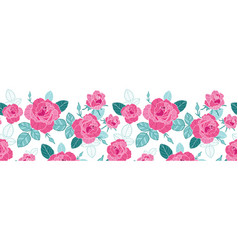 Vintage pink roses and blue leaves on white vector