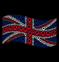 Waving british flag mosaic of map marker icons vector