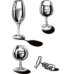 Wine glasses and a bottle opener vector
