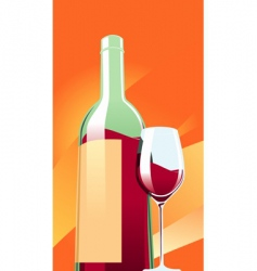 wine with a glass vector image