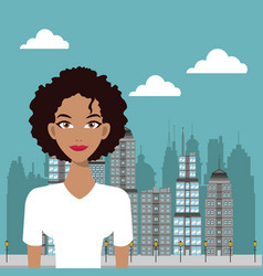 Woman curly hair urban building background vector