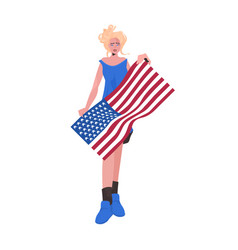 Woman holding usa flag 4th july american vector