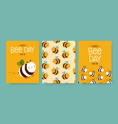 world bee day cute funny cartoon card set vector image