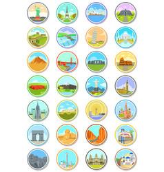 World landmarks travel icons vector