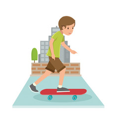 Young boy playing skateboard in flat style vector