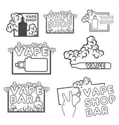 A set of electronic cigarette logos vector image vector image
