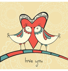 Card with birds in love vector image vector image