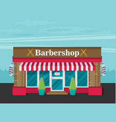 facade of barbershop flat vector image vector image