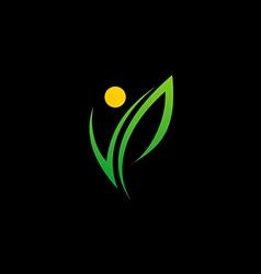 green leaf happy beauty logo vector image