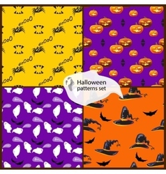Halloween seamless patterns set with hats vector image vector image