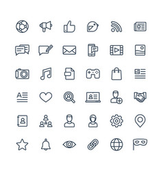 thin line icons set with social media vector image vector image