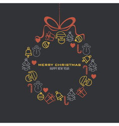 Christmas wreath with icons vector image