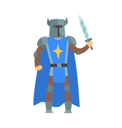Crusader Knight In Blue Cape With Sword And Sword vector image