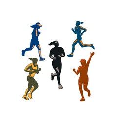 Female Marathon Runners Retro Set vector image vector image