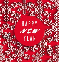 Happy New Year text banner white snowflakes on red vector image vector image