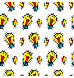light bulb patches seamless pattern vector image vector image