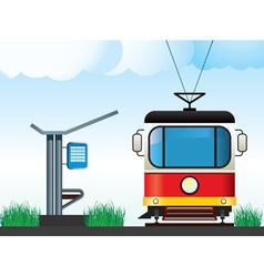 tram on the stop vector image vector image