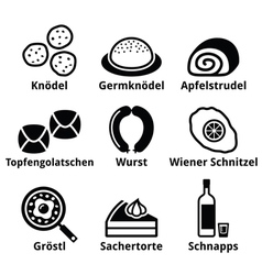 Austrian food - traditional meals an drink icons vector image