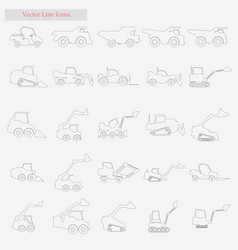 excavator set style line icons on white vector image