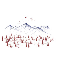 mountain and forest vector image vector image