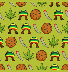 rasta icons seamless pattern green leaf of vector image