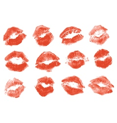 Red lipstick kiss Isolated on white background vector image