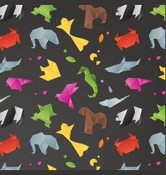 animals origami pattern black vector image vector image
