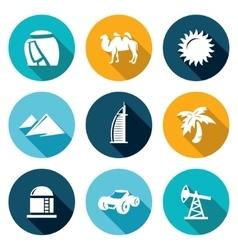 Arab emirates icons set vector