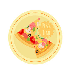 cartoon pizza with tomato mushroom olive meat vector image