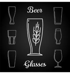 Line beer glasses icons on blackboard vector image vector image