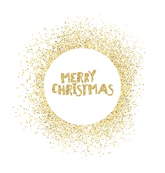 Merry Chruistmas postcard Gold sparkles on white vector image
