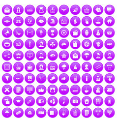 100 journalist icons set purple vector