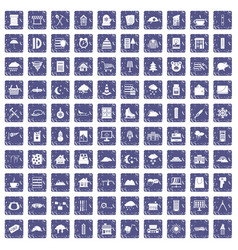 100 windows icons set grunge sapphire vector image