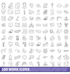 100 work icons set outline style vector image