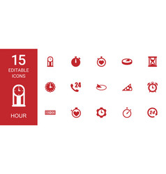 15 hour icons vector image