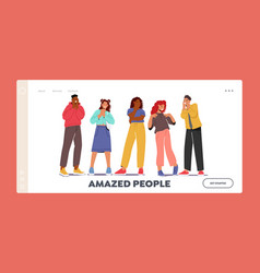 Amazed people landing page template young men vector
