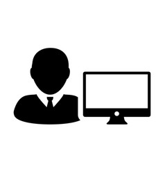 Associate icon male person user with computer vector