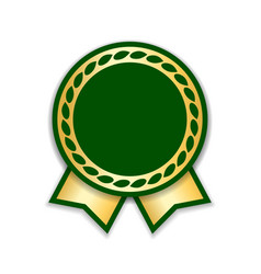 Award ribbon isolated gold green design medal vector