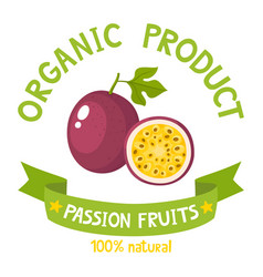 Badge with passion fruit vector