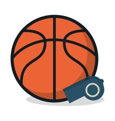 Ball and whistle of Basketball sport design vector