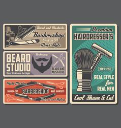 Barbershop retro design hairdresser salon items vector