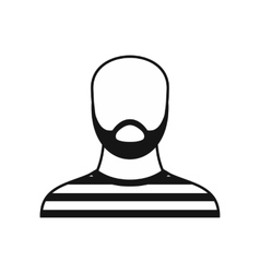 Bearded man in prison garb icon simple style vector